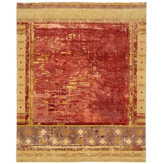 """""""Urban Maze"""" Red Brown Hand-knotted Area Rug Wool, Silk, In Stock"""