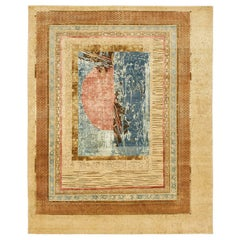 """""""Sunset Surge"""" Red Gold Hand-Knotted Area Rug"""