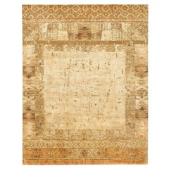 """""""Windswept"""" Gold Beige Hand-Knotted Area Rug"""
