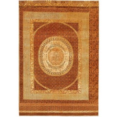 """Charbagh"" Brown Gold Hand-Knotted Area Rug Wool, Silk, In Stock"