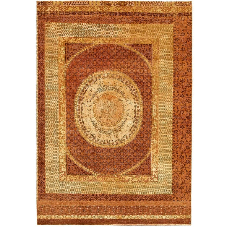 """Rugs Made In India For Sale: """"Charbagh"""" Brown Gold Hand-Knotted Area Rug Wool, Silk, In"""