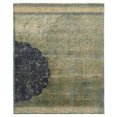 """Qafia"" Blue Green Hand-Knotted Area Rug"