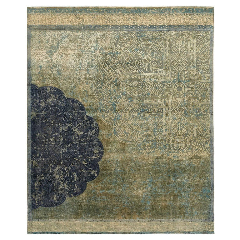 Qafia Blue Green Hand Knotted Area Rug For Sale At 1stdibs