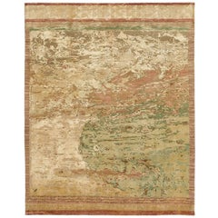 """Cosmos Influence"" Gold Hand-Knotted Area Rug Wool, Silk, In Stock"