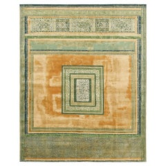 """Mughal Maze"" Green Gold Hand-Knotted Area Rug"