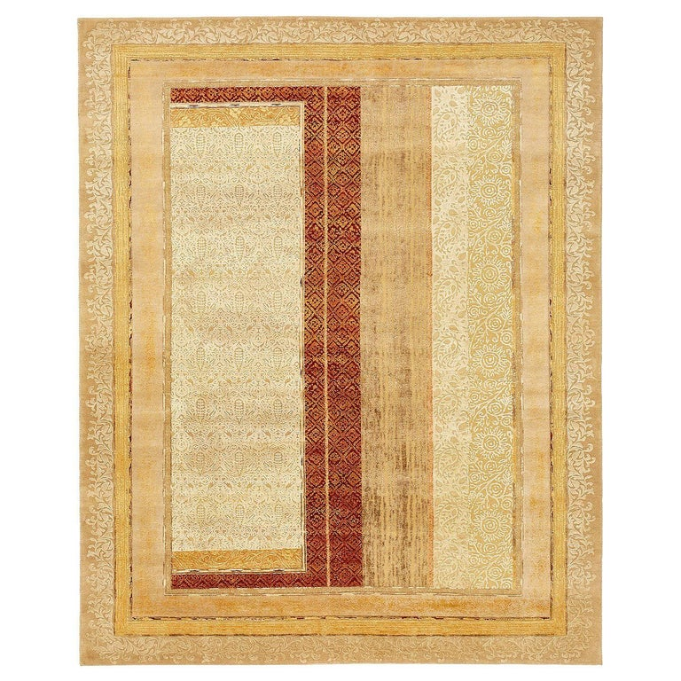 """""""Farozaan"""" Red Gold Hand-Knotted Area Rug For Sale"""