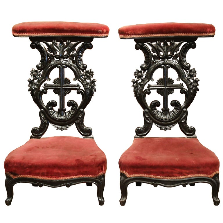 Pair of French Louis XV Hand Carved Walnut Prayer Chairs with Blackened Finish