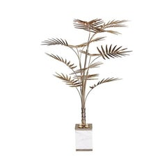 Palms Tropical Floor Lamp Gold Plated and White Marble