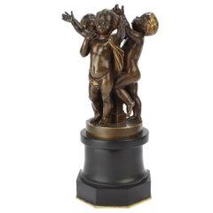 Antique French Bronze Sculpture Three Cherubs by Ferdinand Barbedienne of Paris