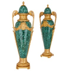 Pair of French Gilt Bronze Mounted Malachite Vases