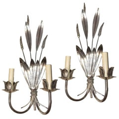 Pair of Wheat Silver Plated Sconces
