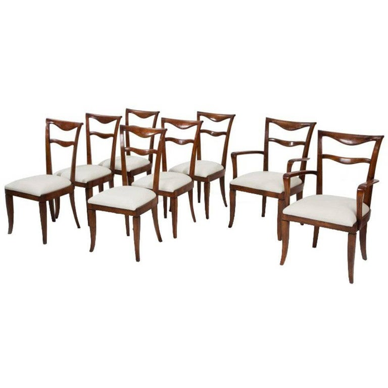 Set of Six Dining Chairs and Two Carvers by Maurizio Tempestini For Sale
