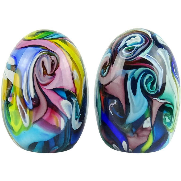 Fratelli Toso Murano Rainbow Swirls Italian Art Glass Paperweights
