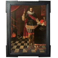 17th Century Portrait of Nicolas Francois Le Valliant in an Ebonized Frame