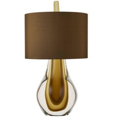 Contemporary Wild Card Murano Glass Table Lamp, Clear with Amber