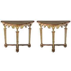 Fine Pair of Italian, 18th Century Painted Console Tables with Pair of Mirrors