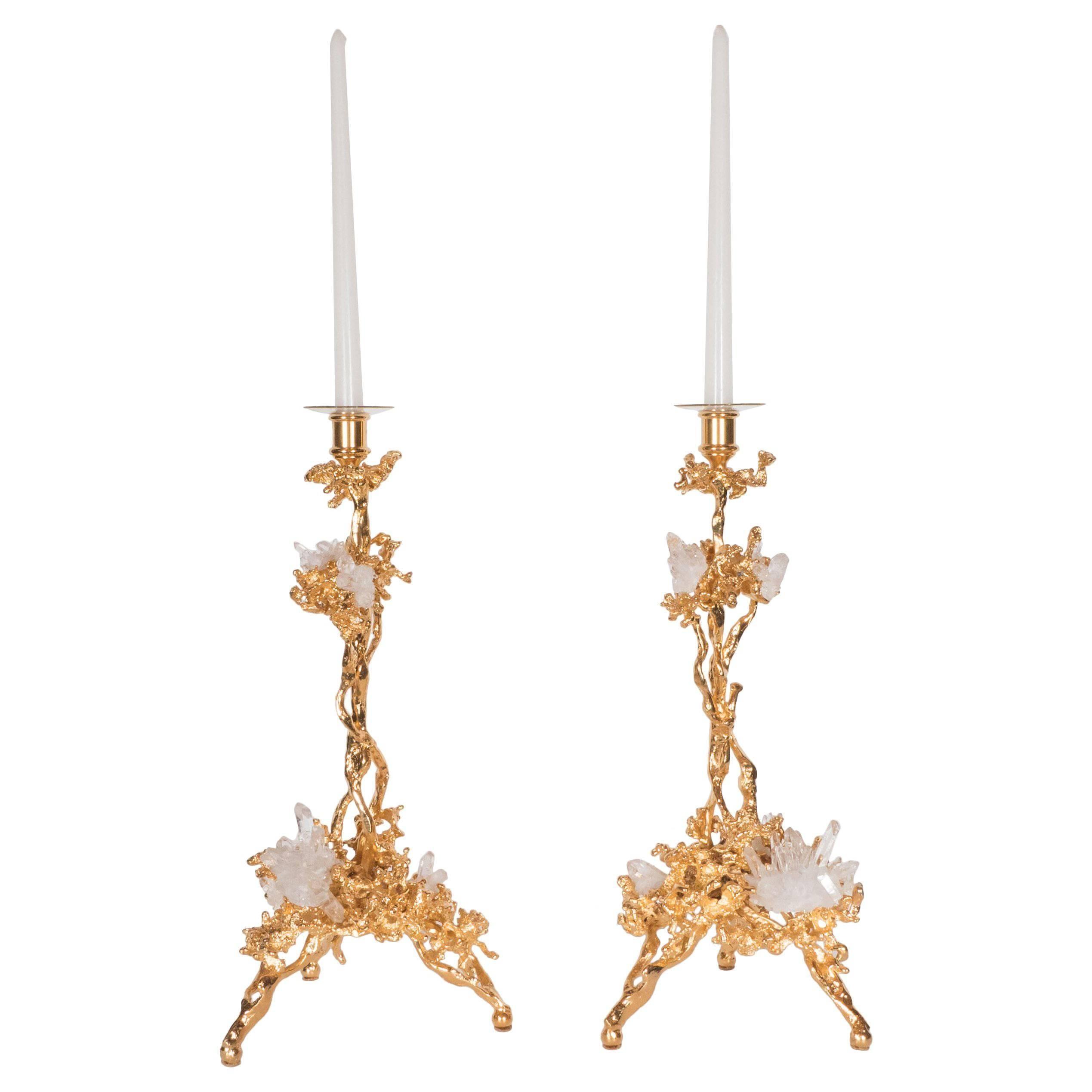 Pair of Single Branch 24-Karat Gold-Plated Bronze Candlesticks by Claude Boeltz