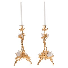 Pair of Single Branch 24-Karat Gold-Plated Bronze Candlesticks by Claude Boeltz