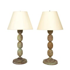 Pair of Contemporary Wood Lamps
