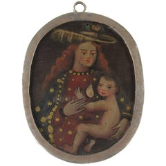 19th Century Spanish Colonial Two-Sided Reliquary of Madonna and Christ