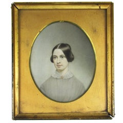 19th Century American Portrait Miniature of a Young Lady with Seed Pearl Brooch