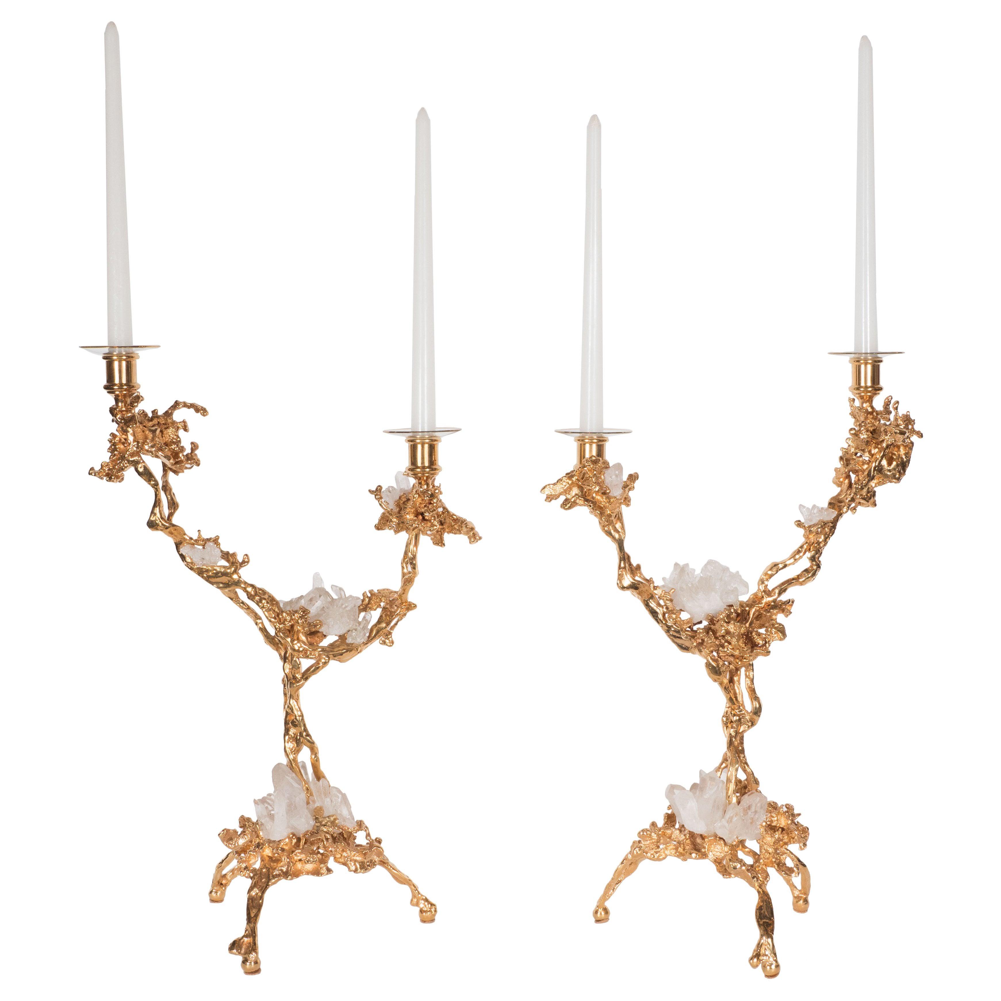 Pair of Double Branch 24-Karat Gold-Plated Bronze Candlesticks by Claude Boeltz