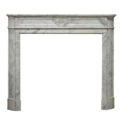 "Arbescato White Marble French Louis XVI ""Demilune"" Fireplace"