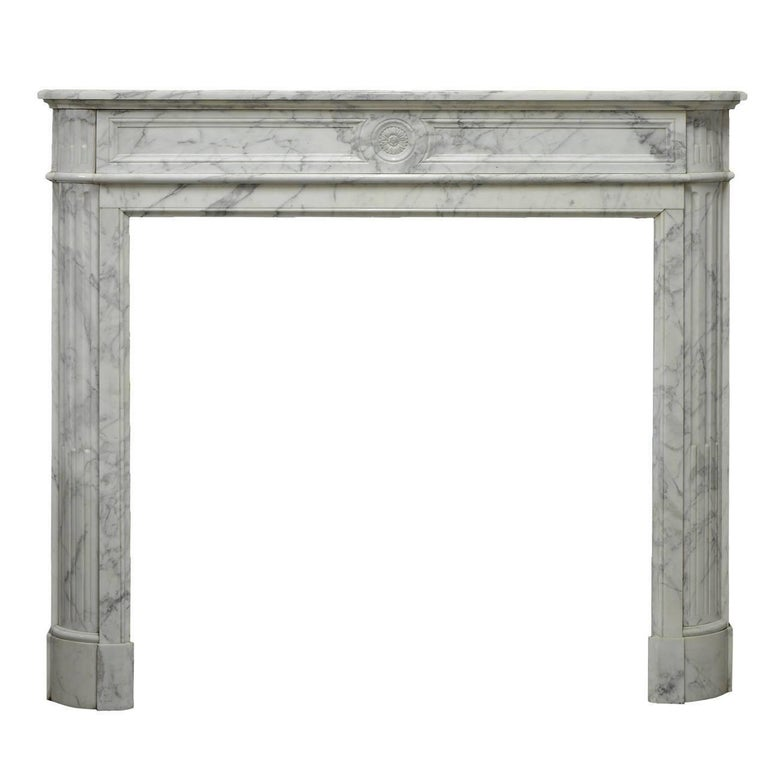 "Arbescato White Marble French Louis XVI ""Demi-lune"" Fireplace Mantel"