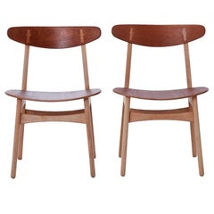 Hans Wegner CH30 Chairs in Oiled Teak and Oak with Teak Seats