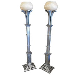 Art Deco Torchere Floor Lamps in Cast Aluminum