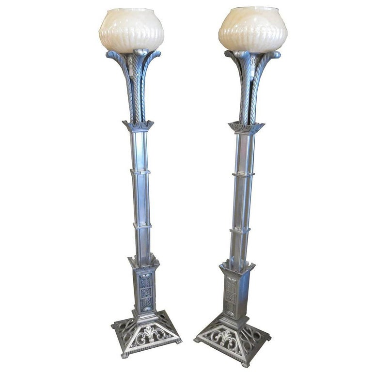 Art Deco Torchere Floor Lamps in Cast Aluminum For Sale