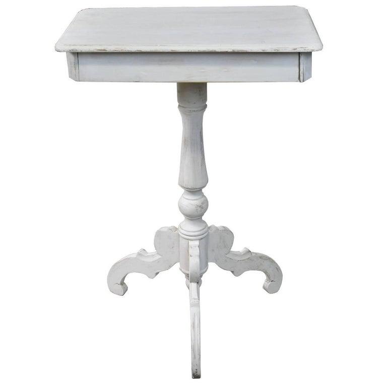 Swedish Center Pedestal Tri-foot Gustavian Style Side Table in Painted Pine