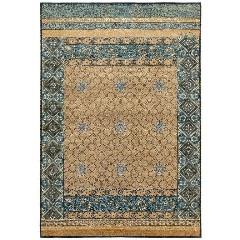 """""""Mahtab Bagh"""" Blue Beige Hand-Knotted Area Rug in Wool, Silk, In Stock For Sale"""
