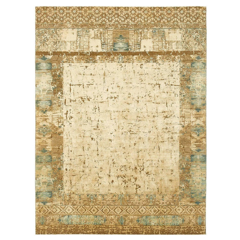 Quot Windswept Quot Beige Hand Knotted Area Rug Wool Silk In