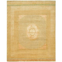 """Charbagh"" Beige Gold Hand-Knotted Area Rug Wool, Silk, In Stock"