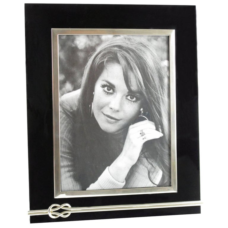 Large Modernist Black Lucite and Chrome Picture Photo Frame