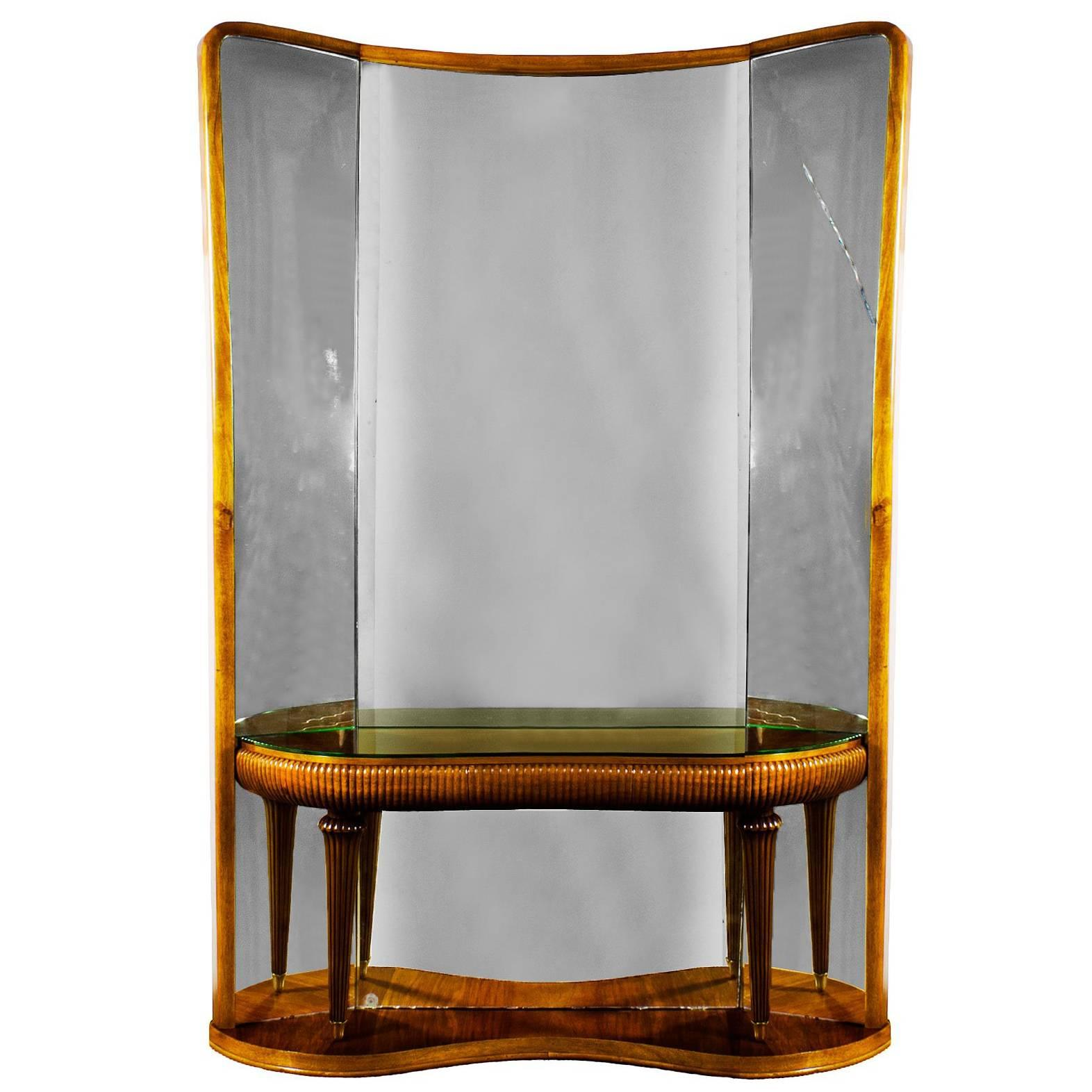 1940s Console-Mirror, Walnut, Brass, Original Mirrors, Fluted Stands, Italy