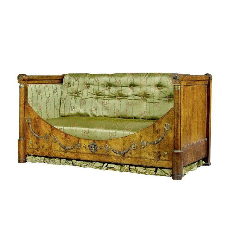 French Restauration Period Mahogany and Gilt Bronze Daybed