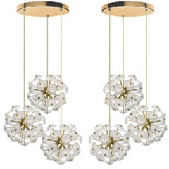Pair of Large Cascade Light Fixture with Three Sputniks in Style of Emil Stejnar