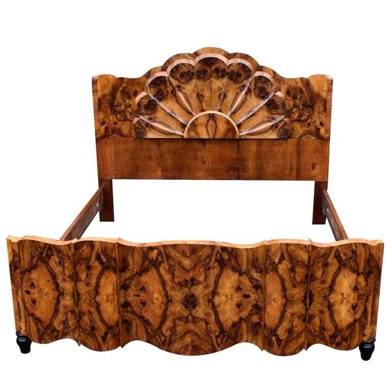 Rare Italian 1930s Art Deco King Size Bed