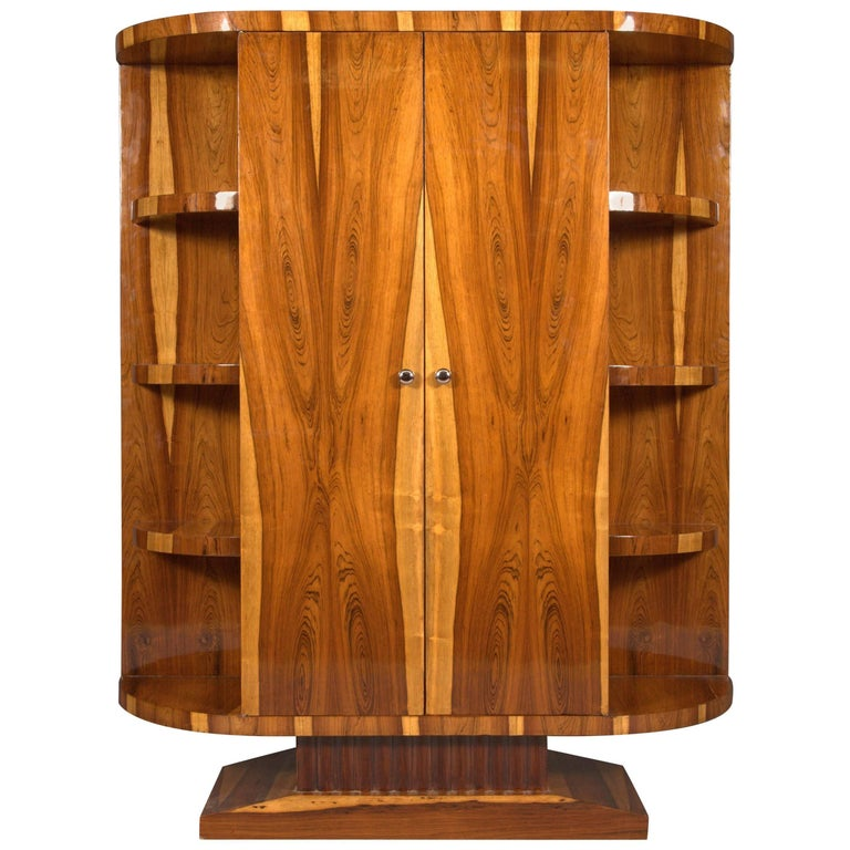 20th Century, Cabinet in Art Deco Style, Light and Dark Rosewood Veneer