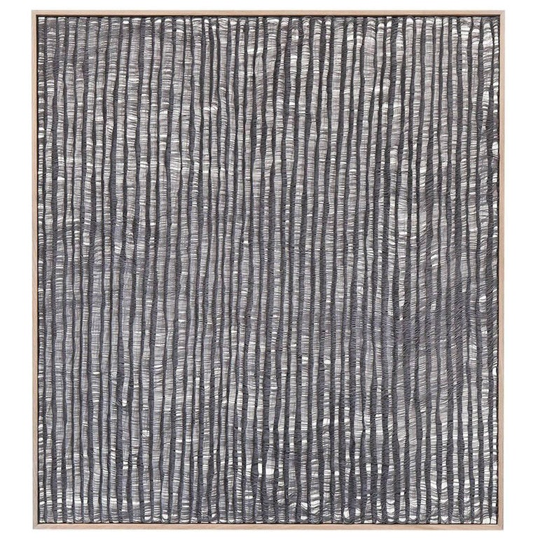 Contemporary Handwoven Wall Fiber Art, Gray Waves by Mimi Jung