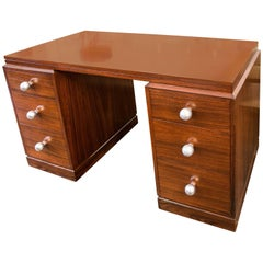 French Art Deco Double Pedestal Rosewood Desk