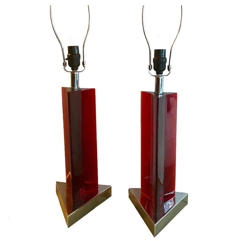 Pair of Red Lucite Table Lamps