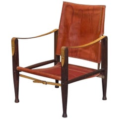 Red Leather Safari Chair by Kaare Klint for Rud Rasmussen