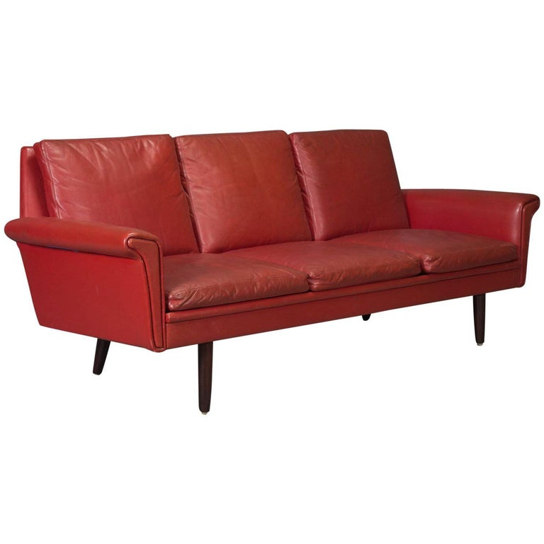 Red Leather Danish Modern Sofa For Sale