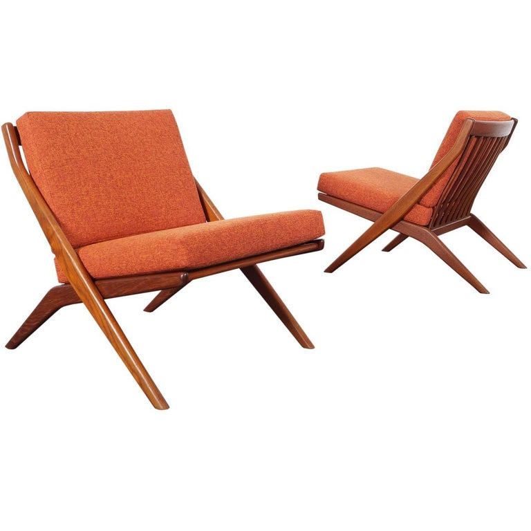 "Vintage Teak ""Scissor"" Lounge Chairs by Folke Ohlsson for DUX"
