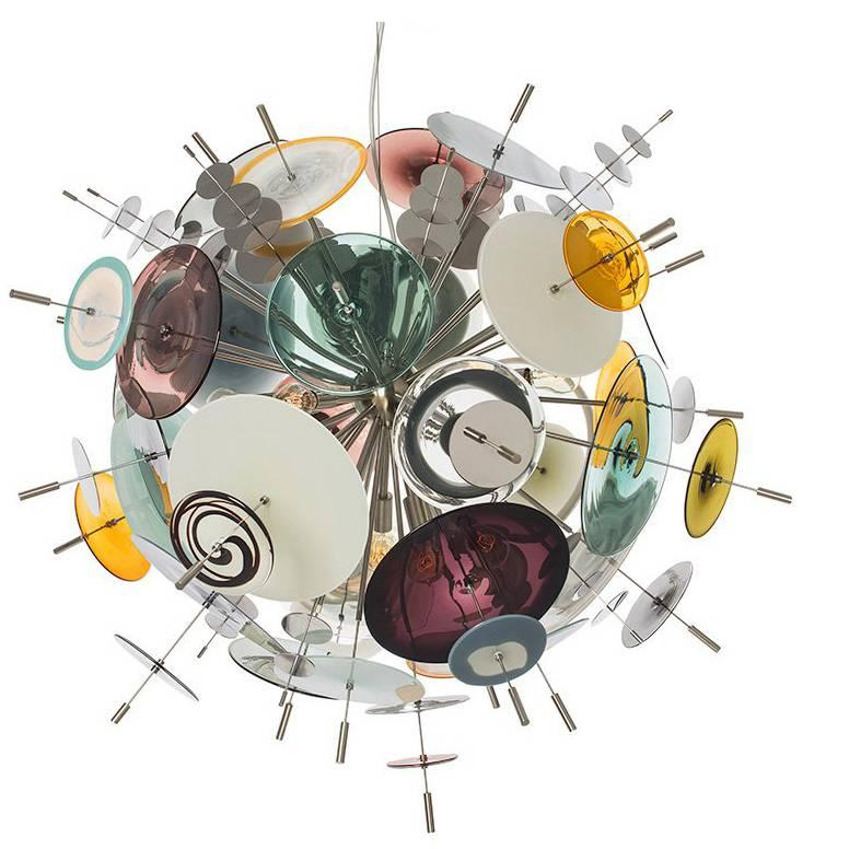 Confetti Glass Aqua, Topaz and Slate Chandelier by Avram Rusu Studio