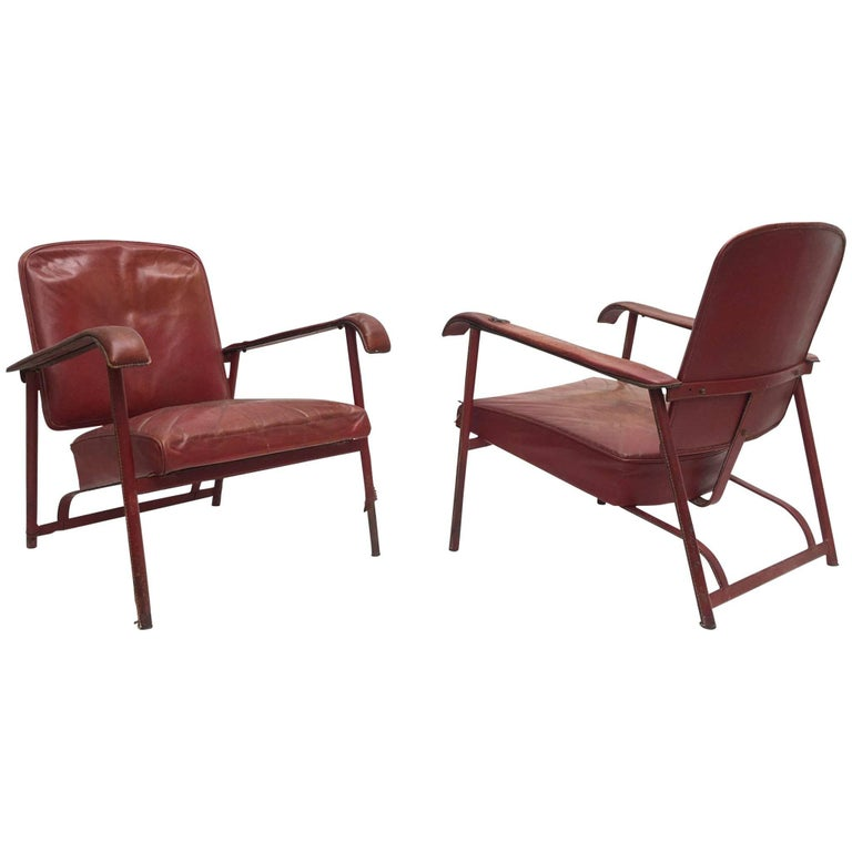 Rare Pair of Original Vintage Leather Adnet Lounge Chairs, France, 1950s