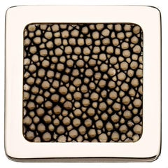 """Square Knob"" Polished Nickel Cabinet Pull with Shagreen Inlay"